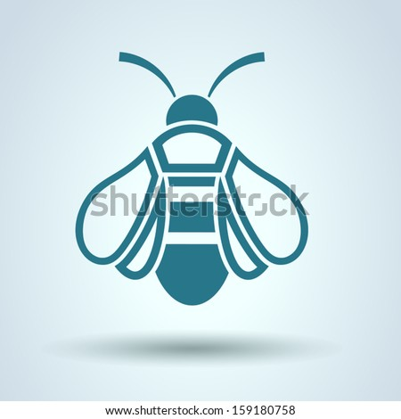Honey Bee icon, Flat style, vector - stock vector