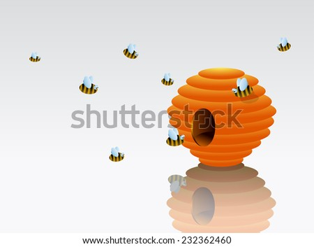 Honey bees around Beehive cartoon. EPS-10 - stock vector