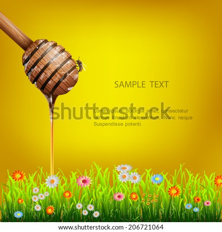 Honey dipper with bee and green grass with flowers. Vector EPS10 - stock vector