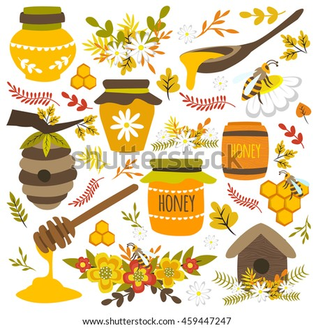 Honey hand drawn elements with bees on flowers combs spoons hives glass jars barrel isolated vector illustration