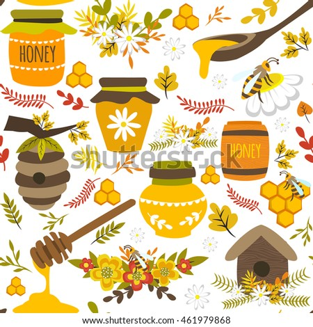 Honey hand drawn seamless pattern with bee products pots barrel flowers leaves on white background vector illustration