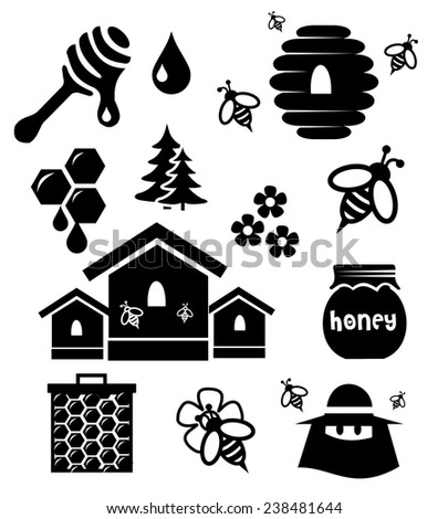Honey icon set vector - stock vector