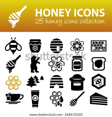 honey icons - stock vector