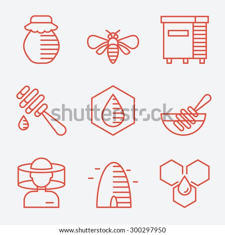Honey icons, thin line style, flat design - stock vector