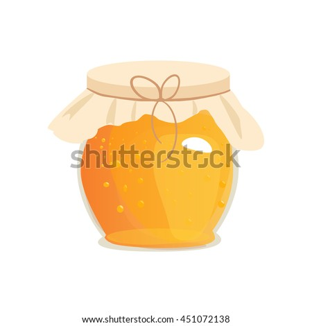 Honey jar vector. Apiary vector symbol. Bee, honey, honey bank, honey pot comb. Honey natural healthy food production. Honey liquid bank isolated. Beehive and wax. Sticky ingredient dessert. - stock vector
