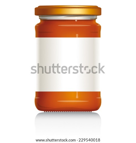 Honey Jar with blank white label, vector visual illustration, Drawn with mesh tool. Fully adjustable & scalable. - stock vector