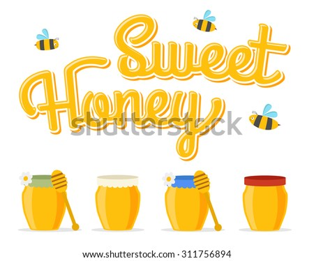 honey jars, with bees and flowers - stock vector