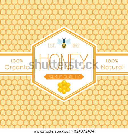 Honey label template for honey logo products with bee and drop of honey on Honeycomb colorfull pattern background - stock vector