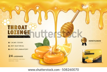 Honey lemon throat lozenge, ads template and package design for sore throat. Honey dripping from top. 3D illustration.