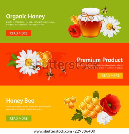 Honey natural organic product food decorative banners set with daisy bumblebee honeycomb isolated vector illustration - stock vector