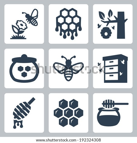 Honey related vector icons set - stock vector