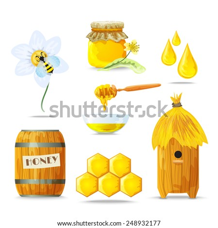Honey sugar tasty healthy food decorative icons set isolated vector illustration