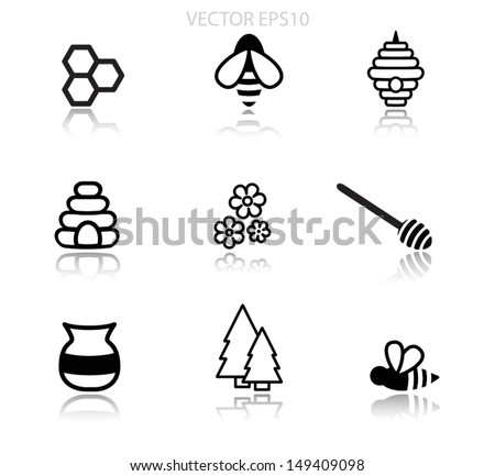 Honey vector icons - stock vector