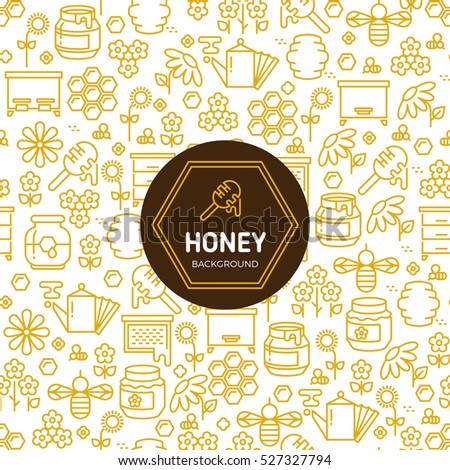 Honey wrapping vector background with bees and honeycombs symbols