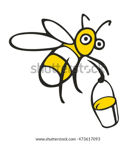 Honey yellow bee vector logo trademark icon on white background