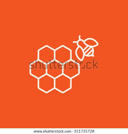 Honeycomb and a bee line icon for web, mobile and infographics. Vector white icon isolated on red background. - stock vector