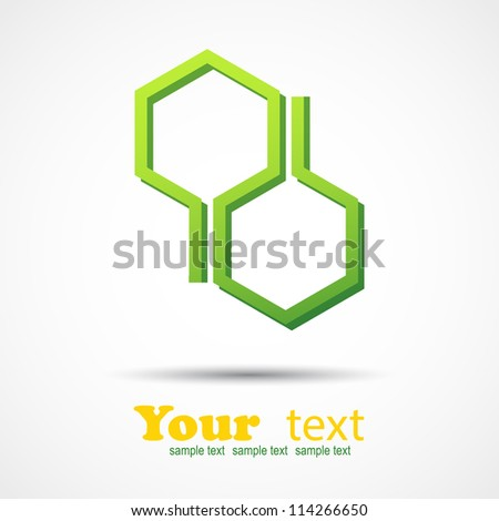 Honeycomb design element on gray background and place for your text - stock vector