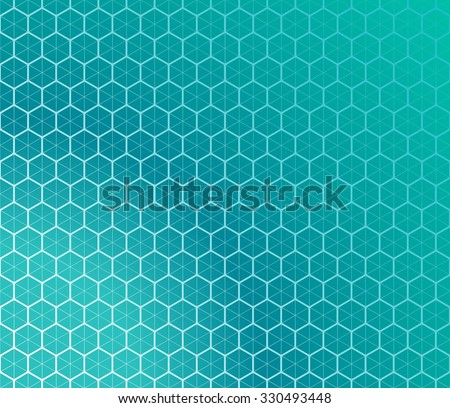 Honeycomb inspired Abstract geometric Background. Hexagons and triangles in colors of emerald. Vector regular Texture. - stock vector