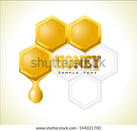 honeycomb logo with honey drop / vector illustration eps 10 - stock vector