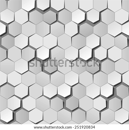 Honeycomb origami pattern (perfectly repeatable, easy to change colors and shadows) - stock vector