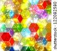 Honeycomb Shiny Cubes - stock vector