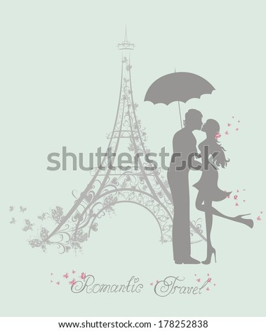 Honeymoon and Romantic Travel. Happy young lovers couple kissing in front of Eiffel Tower, Paris, France.  - stock vector