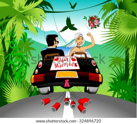 honeymoon on a black car on a beautiful forest, vector - stock vector
