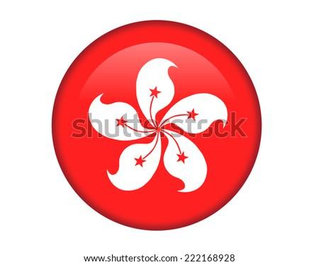 Hong Kong - China glossy round button - stock vector
