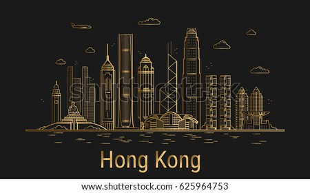 Line Art City : Houston city skyline silhouette background vector clipart