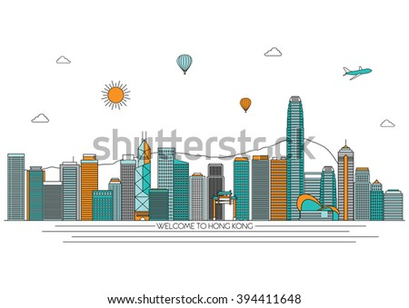 Hong Kong detailed skyline. Travel and tourism background. Vector background. line illustration. Line art style
