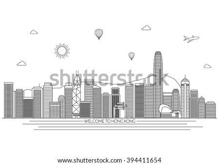 Hong Kong detailed skyline. Travel and tourism background. Vector background. line illustration. Line art style - stock vector
