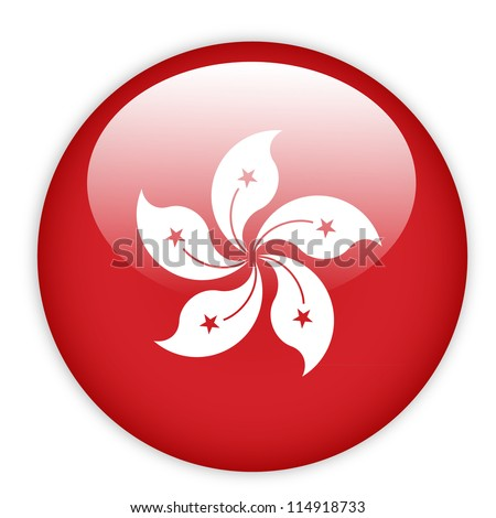 Hong Kong flag button on white