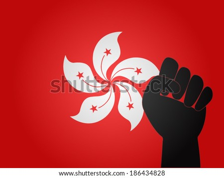 Hong Kong Flag with Protest Sign EPS10 - stock vector