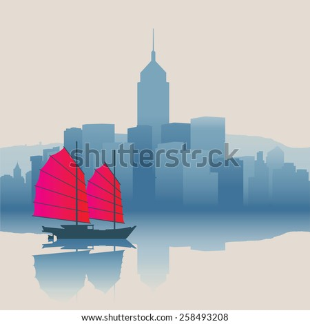 Hong Kong harbour with tourist junk - stock vector
