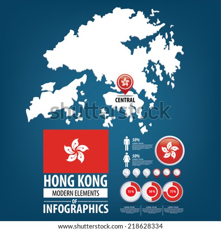 Hong Kong. Hong Kong Special Administrative.Republic of China. flag. Asia. World Map. vector Illustration. - stock vector