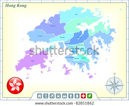 Hong Kong Map with Flag Buttons and Assistance & Activates Icons Original Illustration - stock vector