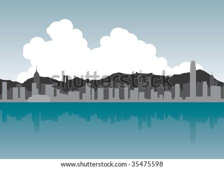 Hong Kong Skyline - stock vector