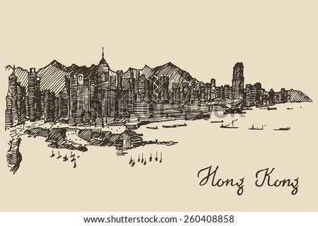 Hong Kong skyline, big city architecture, engraved vector illustration, hand drawn, sketch - stock vector