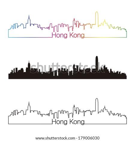 Hong Kong skyline linear style with rainbow in editable vector file - stock vector