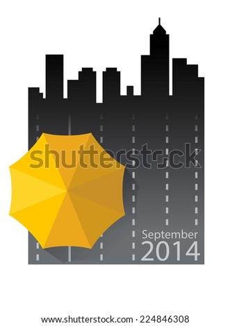Hong Kong umbrella revolution September 2014 - stock vector
