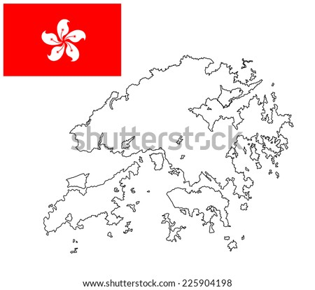 Hong Kong vector map contour and vector flag isolated on white background. High detailed illustration.  - stock vector