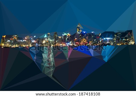 Hongkong night harbor color geometric abstract triangles modern view - stock vector