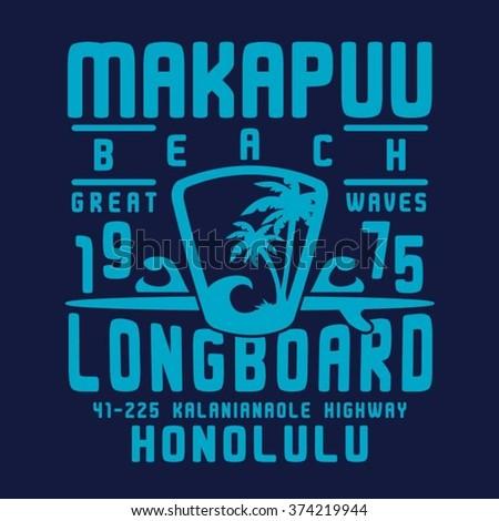 Honolulu beach surf typography, t-shirt graphics, vectors - stock vector