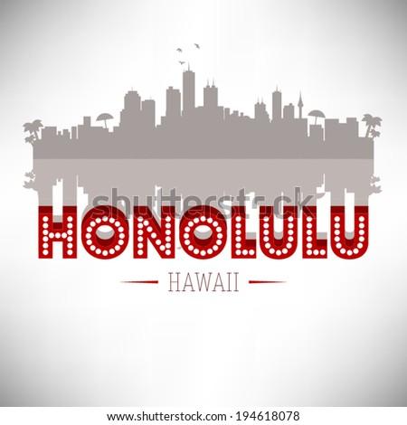 Honolulu Hawaii skyline silhouette design, vector illustration. - stock vector