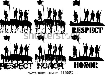 honor soldiers - stock vector