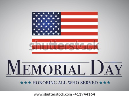 Honoring all who served banner for memorial day. American flag on gray - stock vector