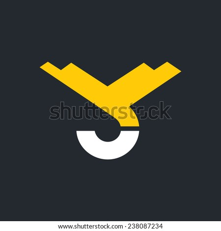 Hook crane, hoist sign, monogram the letters V and C Branding Identity Corporate vector logo design template Isolated on a white background - stock vector