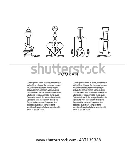 Hookah banner, card or poster template. Vector linear illustration with place for your text. - stock vector