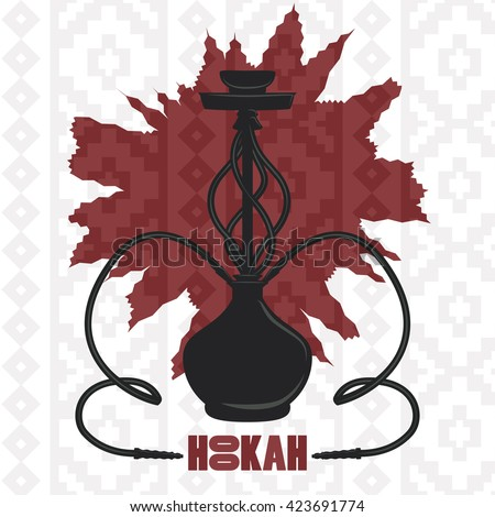 Hookah cafe logo background asian vintage carpet flavors leisure chill menu weekend fun  party night