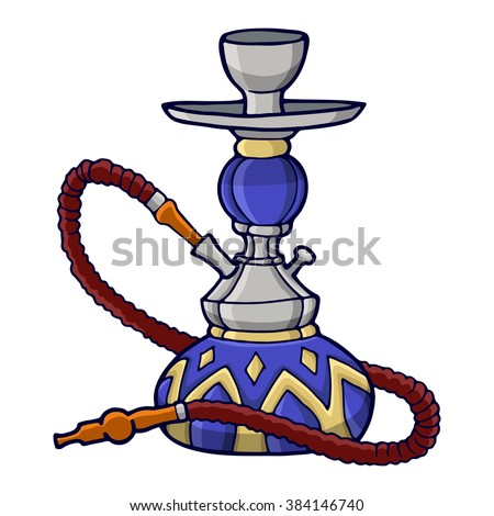 Hookah, decorative color image on a white background. - stock vector